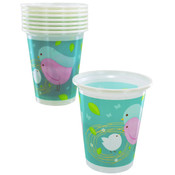 8-Pack of Modern 'Cute Birds' Plastic Cups Wholesale Bulk