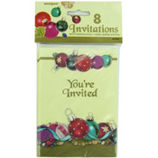 8 Pack Christmas Tree Ornaments Invitations