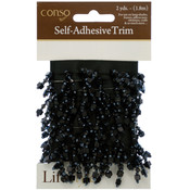 Self-Adhesive Black Trim with Black Beads - 2 Yards Wholesale Bulk