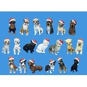 2.5' Cat and Dog W/Santa Hat Ornaments Wholesale Bulk