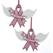 "5.25"" Resin Pink Ribbon Ornament"