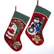 "19"" Santa and Snowman with Wreath Stocking"