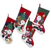 "19""Embroidered Santa and Snowman Stockings"