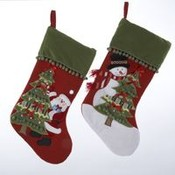 "19""Santa and Snowman Pompom Cuff Stocking"