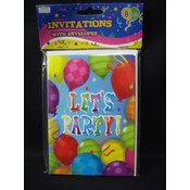 'Let's Party' Party invitation with envelopes 8pcs Wholesale Bulk