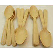 Teaspoons - Heavy Weight PolyPro Plastic - Beige Wholesale Bulk