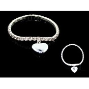 Crystal Stretch Heart Charm Bracelet