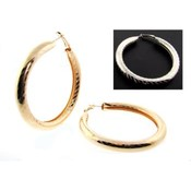 Open Pipe Textured Hoop Earrings | Gold