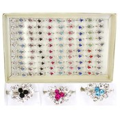 Rhinestone Heart Rings   100 per Tray Wholesale Bulk