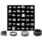 36 Assorted Pewter RIngs Wholesale Bulk