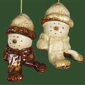 "3"" Rustic Snowman Head Ornament"