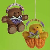 4' Baby Duck and Teddy Ornament Wholesale Bulk