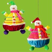 Fabric Merry Snowman Ornament