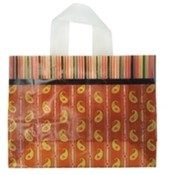 Orange Paisley Stripe Poly Bags, Large Wholesale Bulk