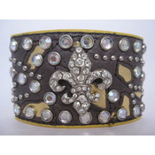 Leather Fleur De Lis Studded Bracelet/Cuffs