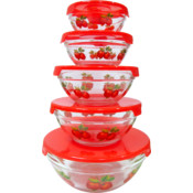 5Pcs. Glass Bowl w/ Red Apple Decals
