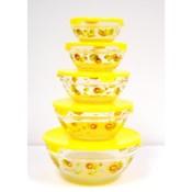 5pc Glass Bowl Yellow Lids w/ Yellow Sunflowers Wholesale Bulk