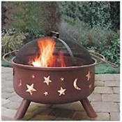 Steel Fire Pit Stars and Moons- Rusty Brown Wholesale Bulk