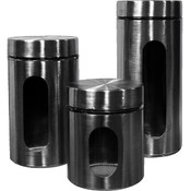 3 Pc. Glass & Stainless steel canister set.