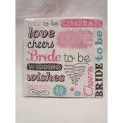 "Bride To Be ""Words"" Napkin- Teal"