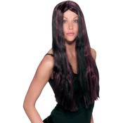 Striped Costume Wig- Black and Burgundy Wholesale Bulk