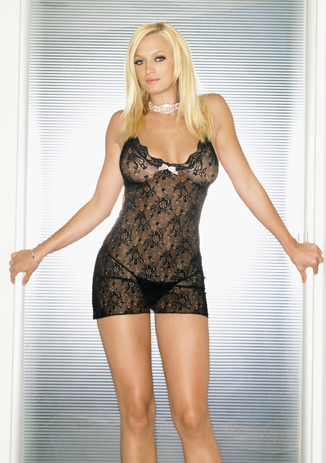 Women's Lace Mini DRESS: Black-One size [1798731]