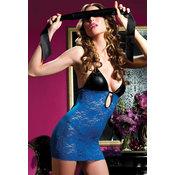 Chemise, Blindfold and Thong Blue XL
