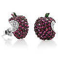 Isabelle&#39;s Ruby CZ Apple Earrings - Sterling Silve