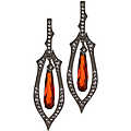 Helena's Faux Garnetbriolette Earrings-97.5 Silver