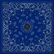 Bandanna, 100% Cotton, Navy Paisley, Premium 22 x 22 in.