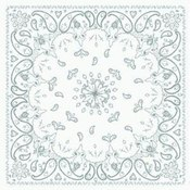 Bandanna, 100% Cotton, White Paisley, Premium, 22 x 22 in.