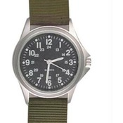 Field Watch, Green Nylon Strap, Black Face