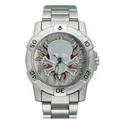 Chrome Biker Watch, Skull w/Flames