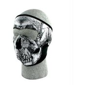 Neoprene Face Mask, Glow in the Dark, Blk & White Skull Face