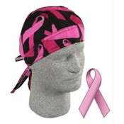 Flydanna®, 100% Cotton, Pink Ribbon, Black