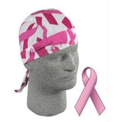 Flydanna®, 100% Cotton, Pink Ribbon, White