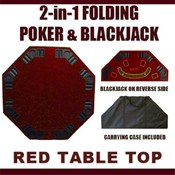 2 in 1 Red Folding Poker &amp;amp; Blackjack Table Top