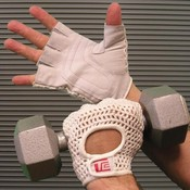 Leather Weightlifting Gloves w/Cotton Mesh Back