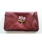 Burgundy Tri-Fold Clutch with Pewter Flower