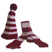 Red &amp;amp; White Hat and Scarf set