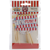 Ruby Rock-It Carnival King Party Picks Toothpick Paper Flags 12/Pkg Wholesale Bulk
