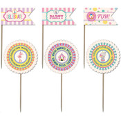 Ruby Rock-It Carnival Queen Party Picks Toothpick Paper Flags 12/Pkg Wholesale Bulk