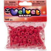 Darice Flocked Pony Beads 6mmx9mm 160/Pkg-Red Wholesale Bulk