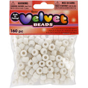 Darice Flocked Pony Beads 6mmx9mm 160/Pkg-White Wholesale Bulk