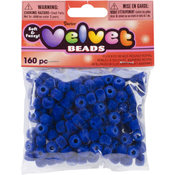 Darice Flocked Pony Beads 6mmx9mm 160/Pkg-Royal Wholesale Bulk