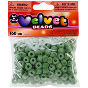 Darice Flocked Pony Beads 6mmx9mm 160/Pkg-Green Wholesale Bulk