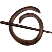 Spiral Shawl Pin, Tiger Ebony