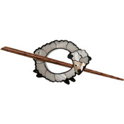 Inlaid Shell Shawl Pin, White Sheep
