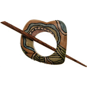 Wood Shawl 3-Inch by 3-Inch Pin