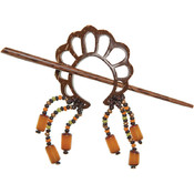 Scrolled Coconut Bead Shawl Pin